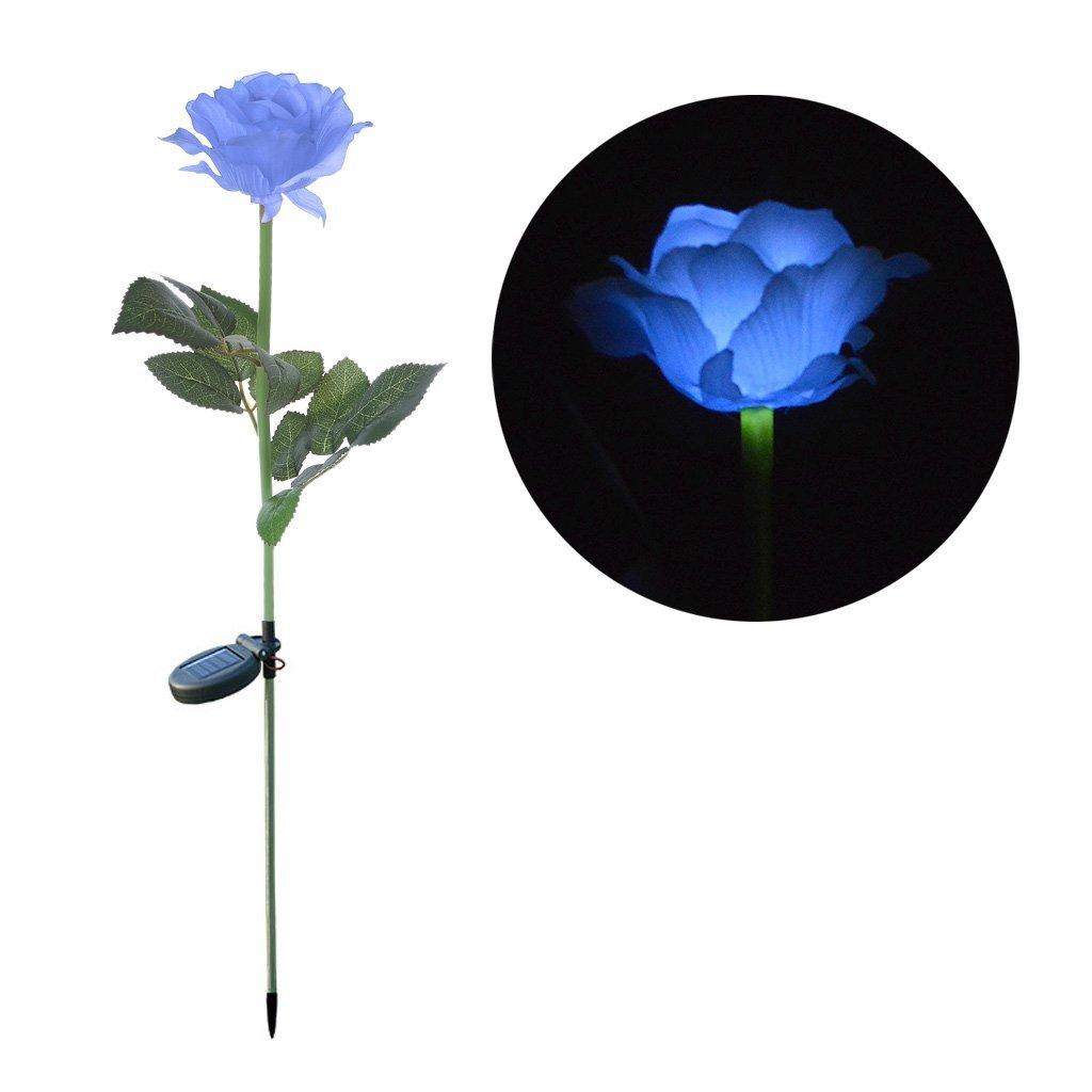 cici store Solar Power LED Rose Flower Garden Landscape Lamp Outdoor Yard Light (blue)