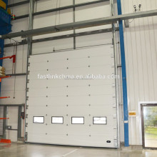 Automatic industrial warehouse double steel overhead sectional door /sliding door with top quality motor