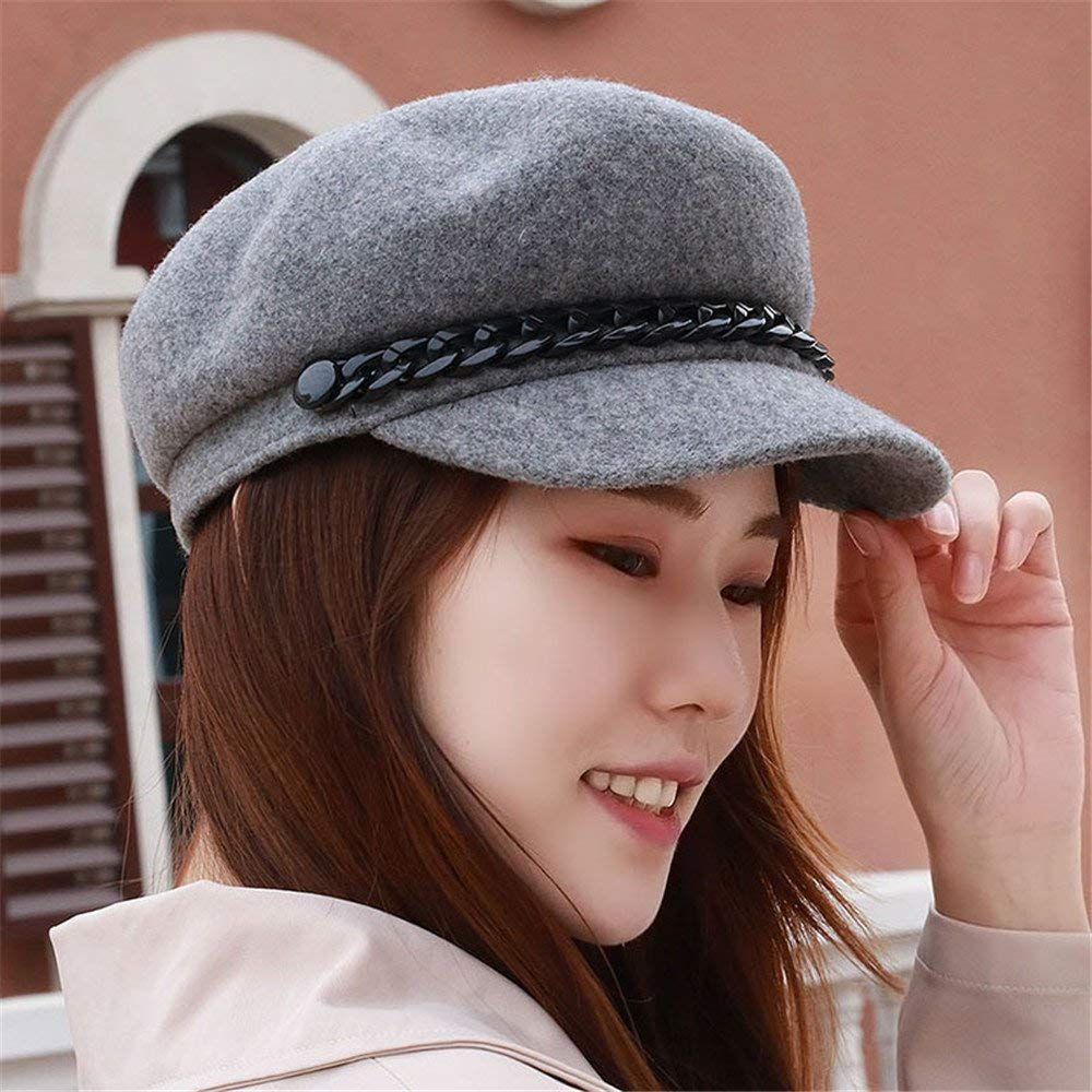 c9898e5679f Get Quotations · Women s hat children winter en Beret peaked cap flat cap  chain fashion hat cap warm for