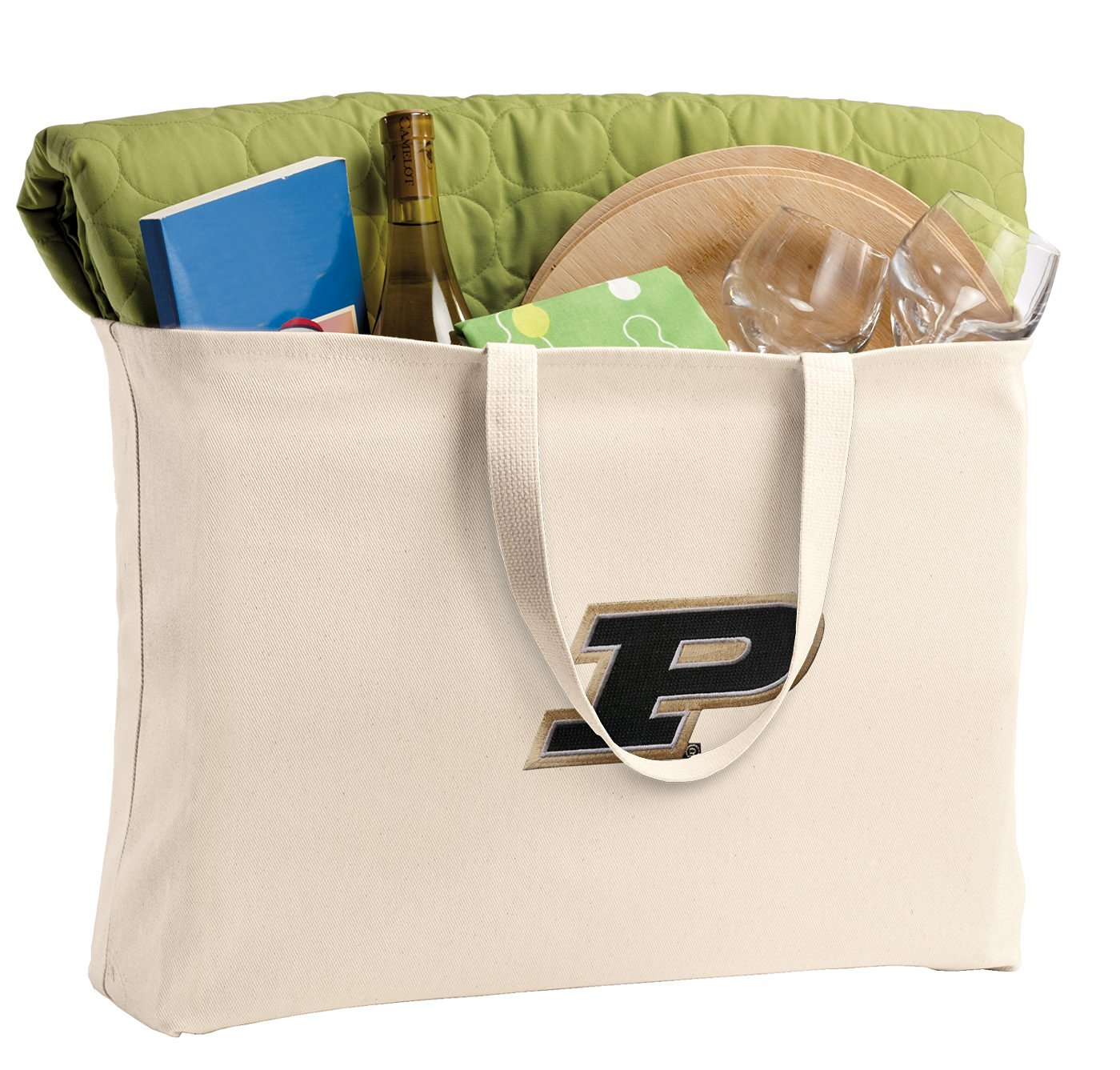 JUMBO Purdue University Tote Bag or Large Canvas Purdue Shopping Bag