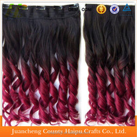 "24"" Long Curly Ombre Two Tone Synthetic Hair Extensions Clip in on Hairpieces"