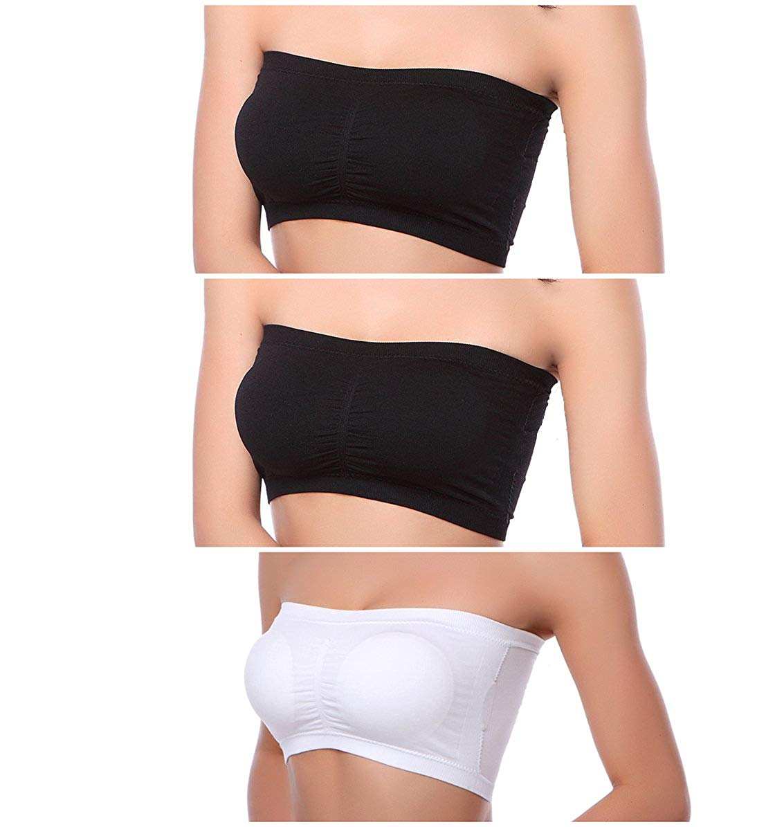 05221c5c2c Xuvozta Women Seamless Bandeau Bra Removable Padded Tube Top Bra Stretch  Bralette 3 Pack