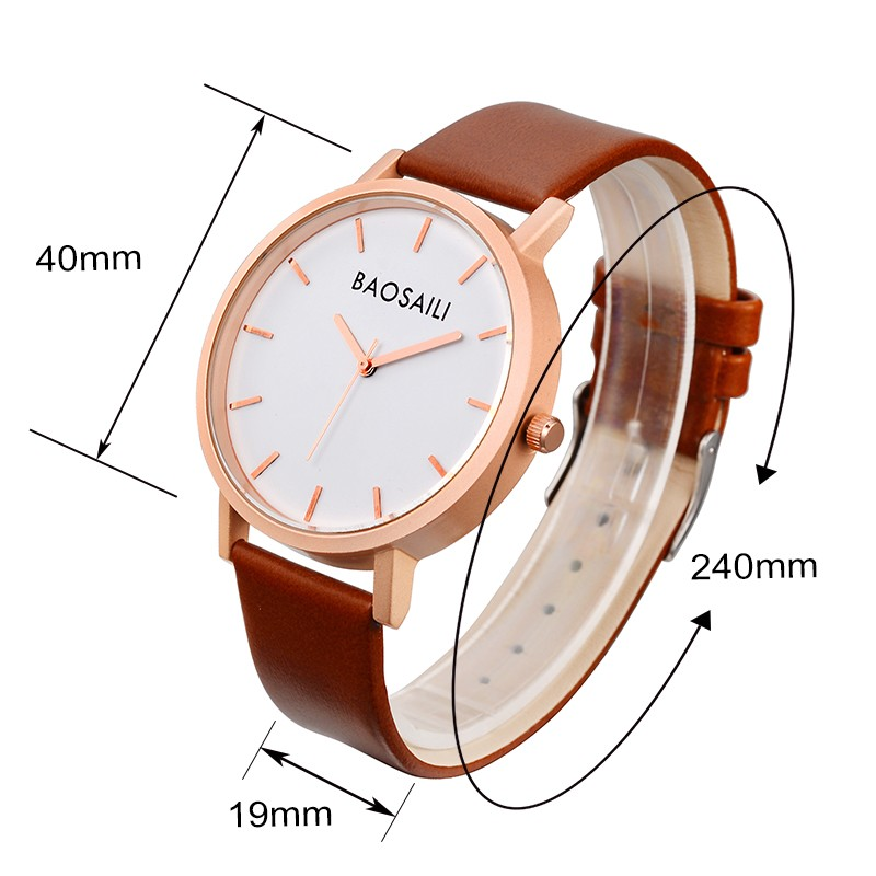 Logo Customized Watch Leather Strap Men Rose Gold Quartz Movement Custom Watch Face