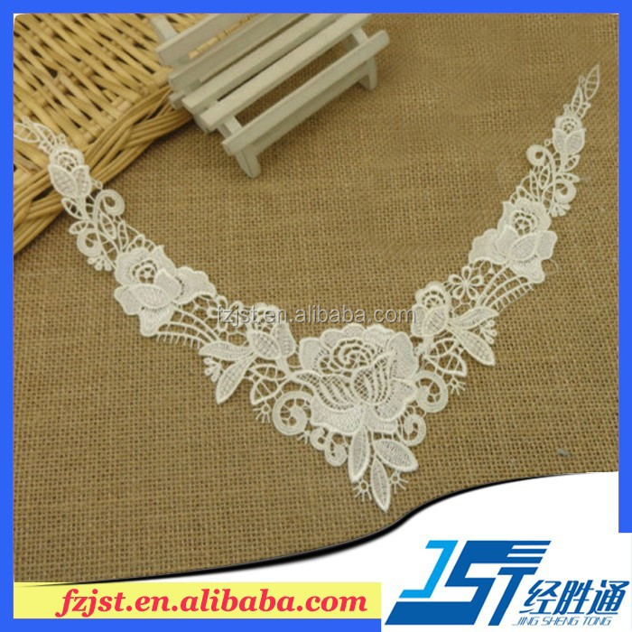 White Polyester Cotton Embroidered Lace Collar Appliques For Dress