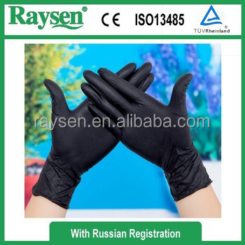 Black hospital nitrile gloves disposable rectal gloves