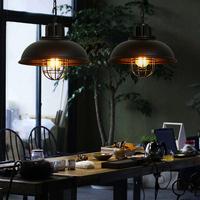 2016 loft American Metal Wire Black Cage Pendant Lamp Industrial Vintage Lighting For Living Room