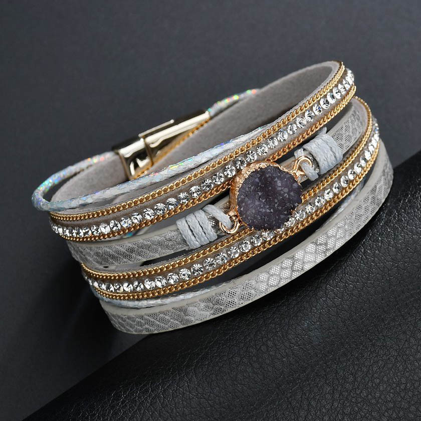 f5d5dfb5533 2019 Leather Charm Bracelets For Women Crystal Silver Braided Cuff ...