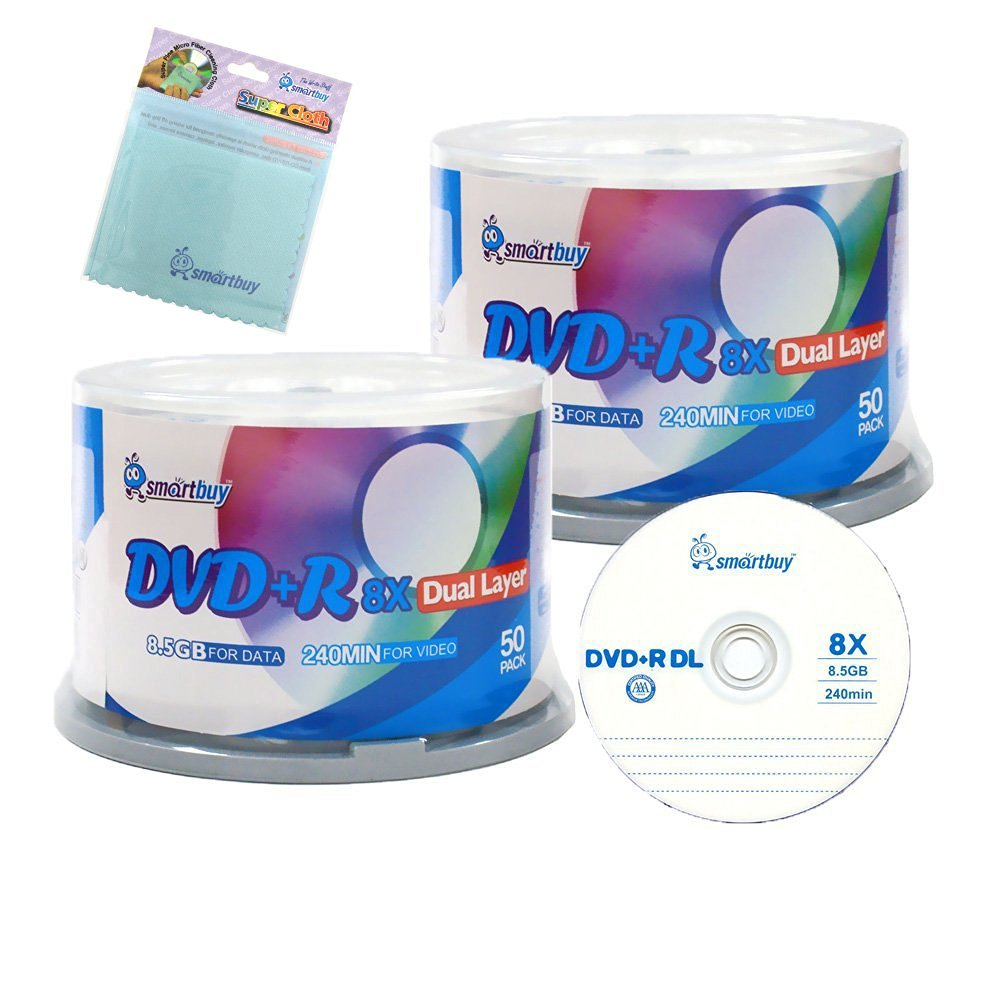 Smartbuy 100-disc 8.5GB/240min 8x DVD+R DL Logo Top Blank Media Record Disc + Free Micro Fiber Cloth