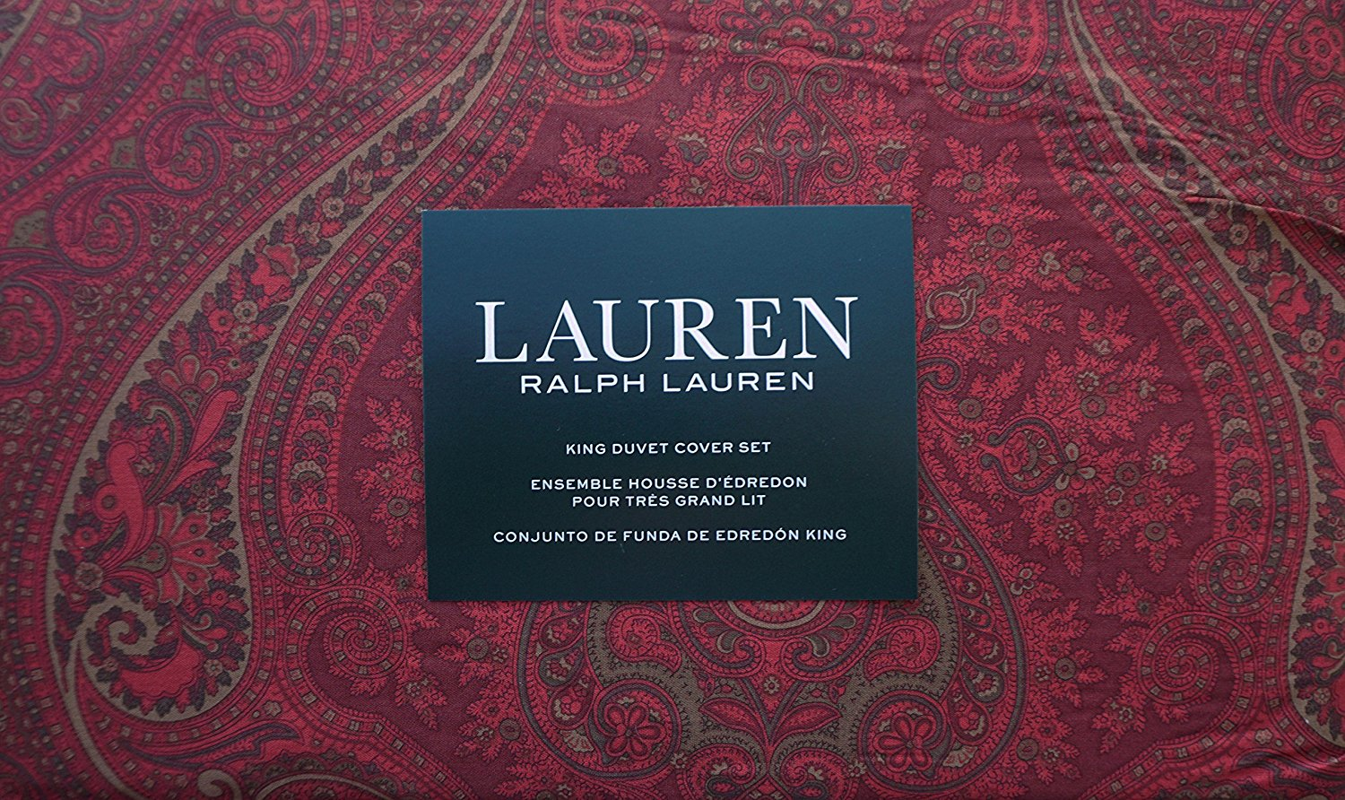 Lauren Ralph Lauren Bedding 3 Piece King Duvet Cover Set Paisley Pattern in Shades of Red and Light Brown