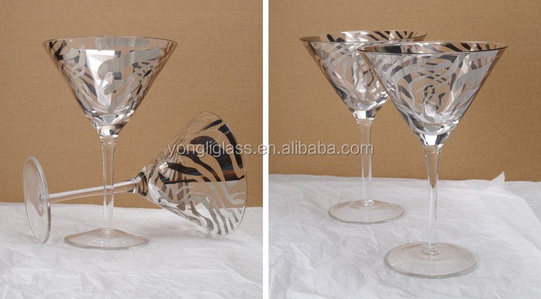 YL-D120 Zebra stripes placcatura Martini Glass