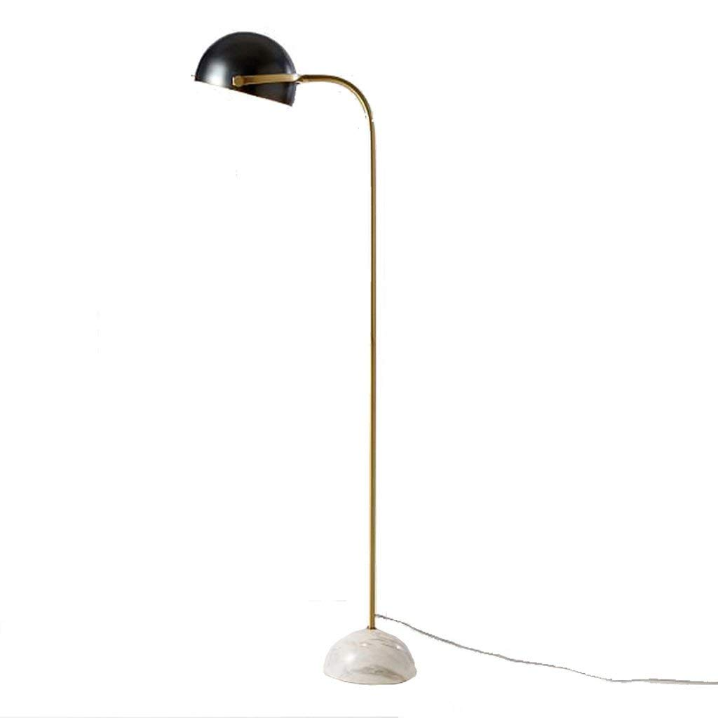 Nordic Creative Wrought Iron Single Pole Vertical Floor Lamp, Round Wrought Iron Adjustable Angle Lampshade Bedroom Living Room Floor Lamp, Fashion Marble Base Hotel Club Floor Lamp, E27