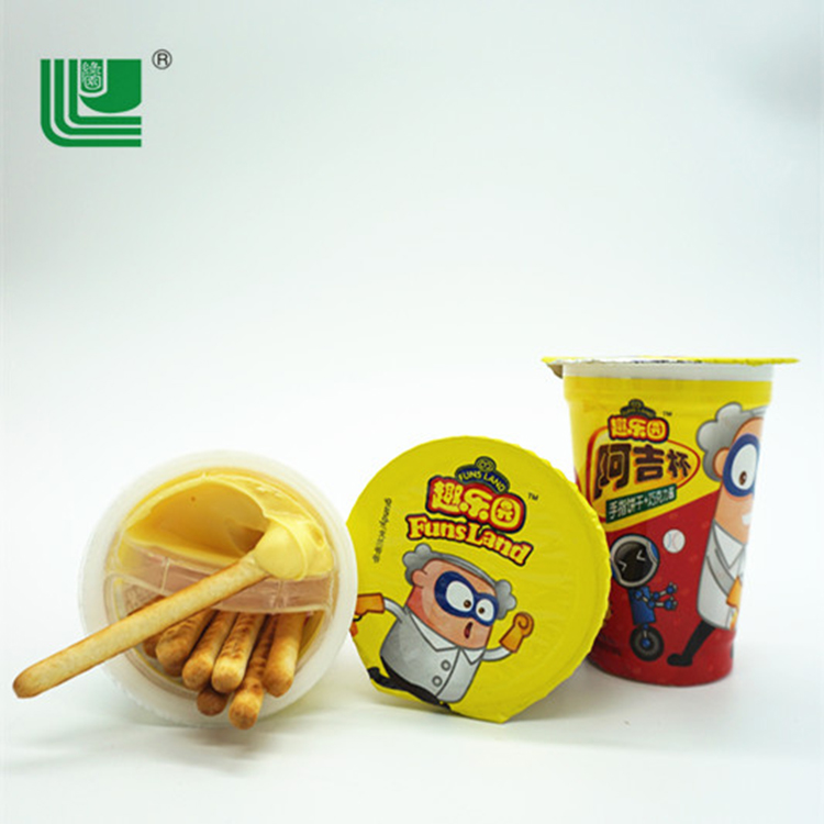 Finger shape banana jam flavour biscuit sticks cup