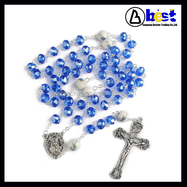 6x8mm Crystal beads with 8mm Ceramic Hand's painting beads Rosary