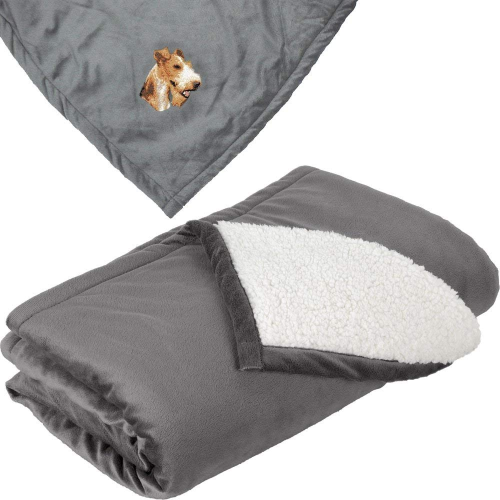 Cherrybrook Dog Breed Embroidered Mountain Lodge Reversible Blanket - Gray - Wire Fox Terrier