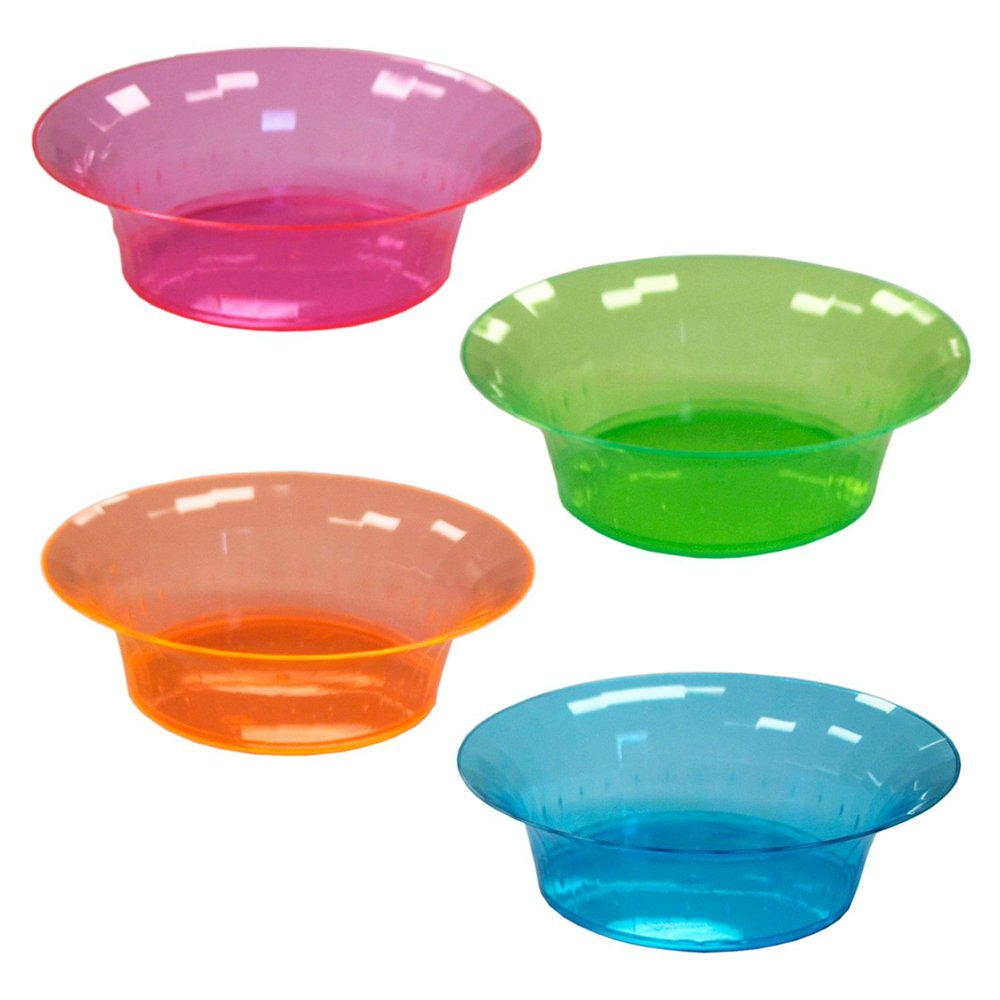 Hard Plastic 10-Ounce Party Disposable Plastic Salad Bowls, Assorted Neon