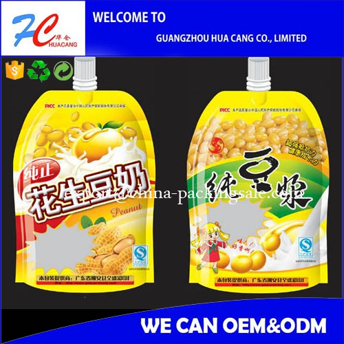 2015 Customized shape food grade juice drink spout pouch bag with print