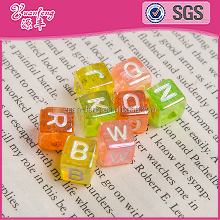 Wholesale Clear AB Color 6*6MM Letter Acrylic Cube Beads
