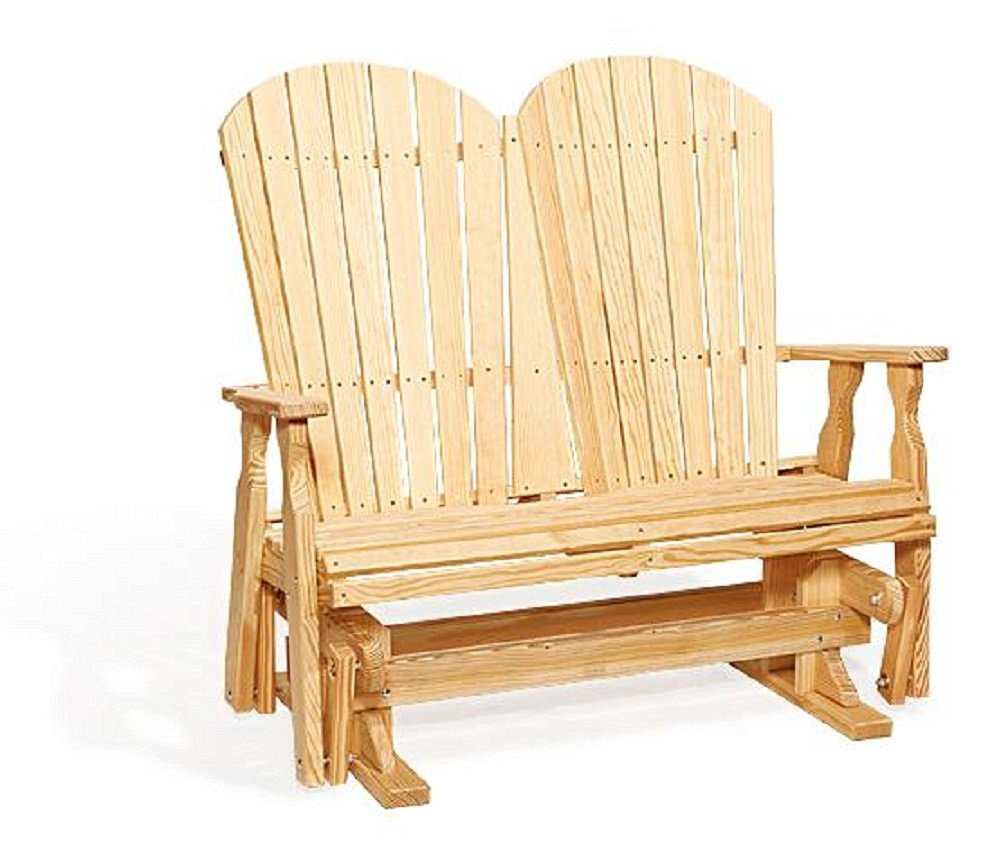 Pine Wood 4' Fan Back Outdoor Glider Bench (Natural)