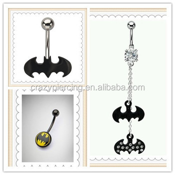Fashion Different Trend Style Navel Piercing Body Jewelry Brand Charming Pink Crystal Dangle Batman Belly Button Ring Buy Batman Belly Button