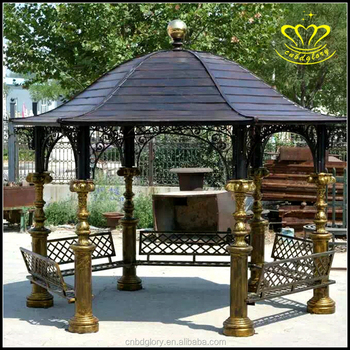 Outdoor garden decoration Big Cast Iron Gazebo with Column sculpture