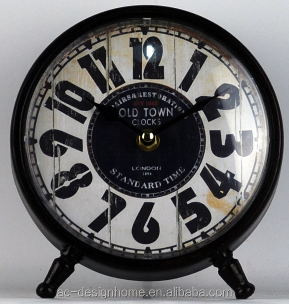 Black Round Table Top Decorative Metal Clock Buy Metal Floor