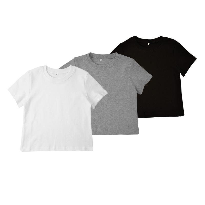Crew Neck Korte Mouwen Groothandel Leeg Zonder Print Jongen Baby 100% Katoen Kinderen T-shirt