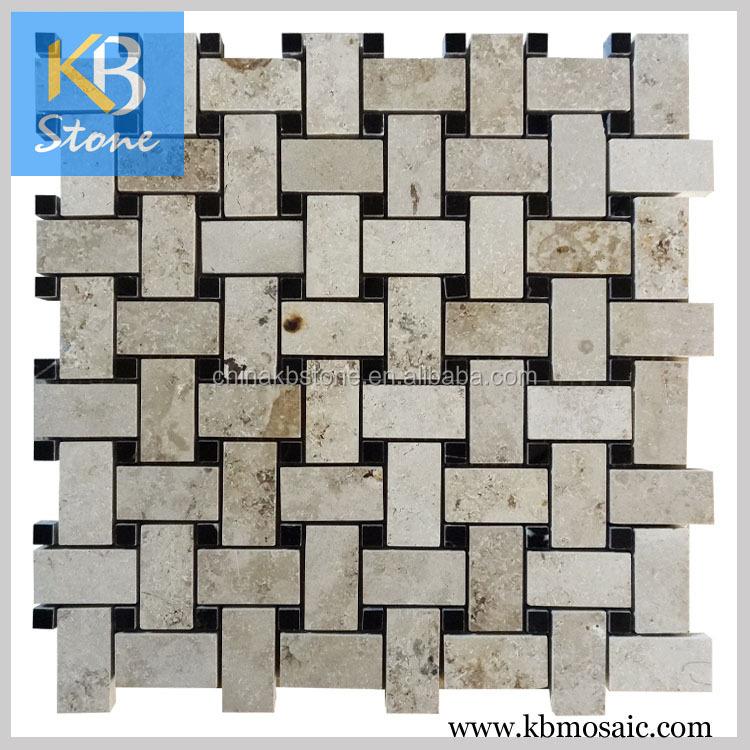 Alta calidad basketweave mármol mosaico backsplash de la cocina ...