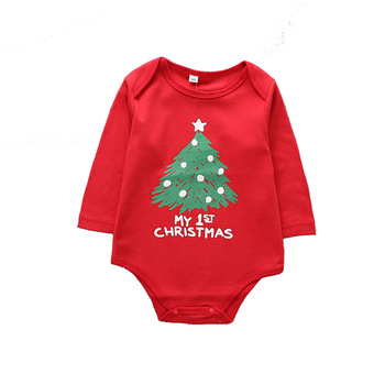 2018 wholesale autumn new cotton Christmas tree print baby triangle Siamese romper