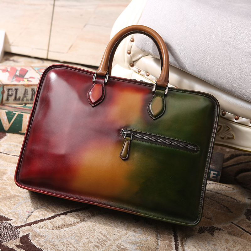 2017 most popular Men's Three-tone Venezia Leather briefcase Messenger Bag Work Bags Logo Custom high quality wholesale price