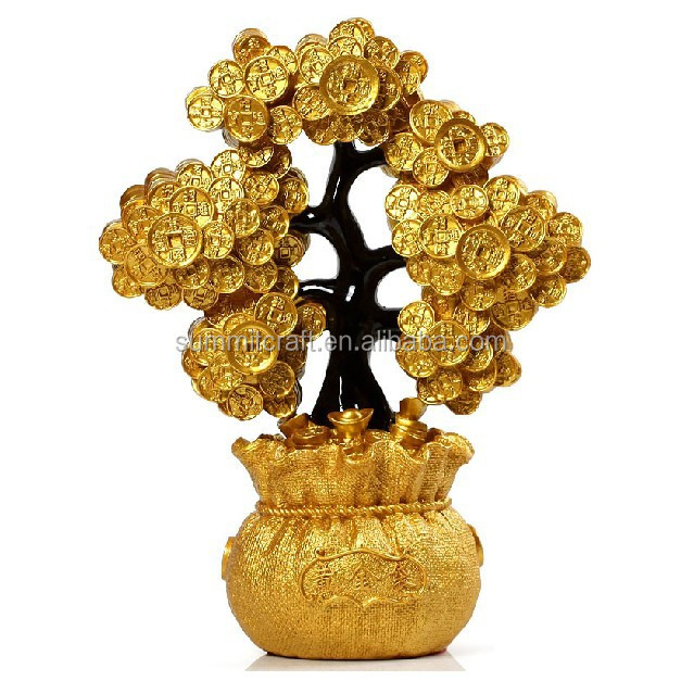 Polyresin golden money tree chinese fengshui item