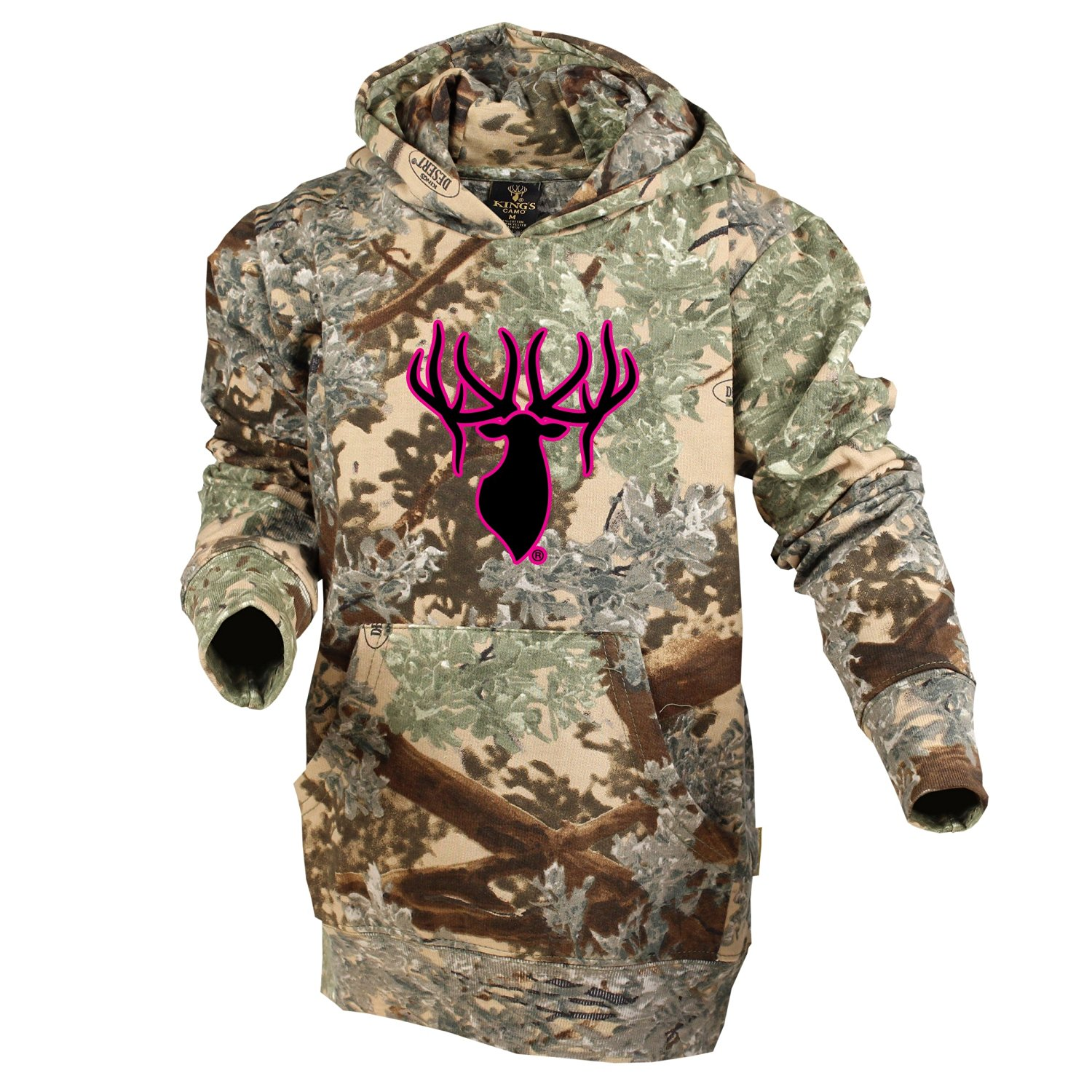 2a99a7c80b9e5 Get Quotations · King's Camo Kids Cotton Hoodie Desert Shadow w/ Elk Black  and Pink Logo Camouflage Youth