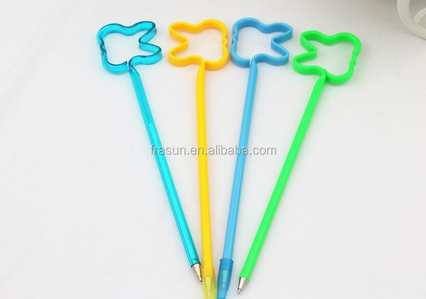Tooth shape straw ball pen for dental gift