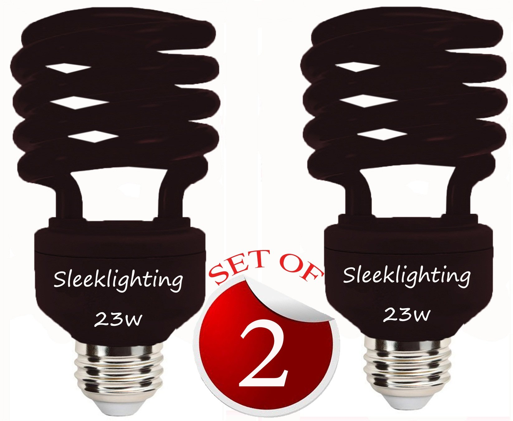 SleekLighting 23 Watt T2 BLACK Light Spiral CFL Light Bulb, 120V, E26 Medium Base-Energy Saver (Pack of 2)