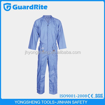 GuardRite Brand Light Blue Mechanic Work Overalls Acid Resistant Works Overall , Wholesale Mechanical Works Overall