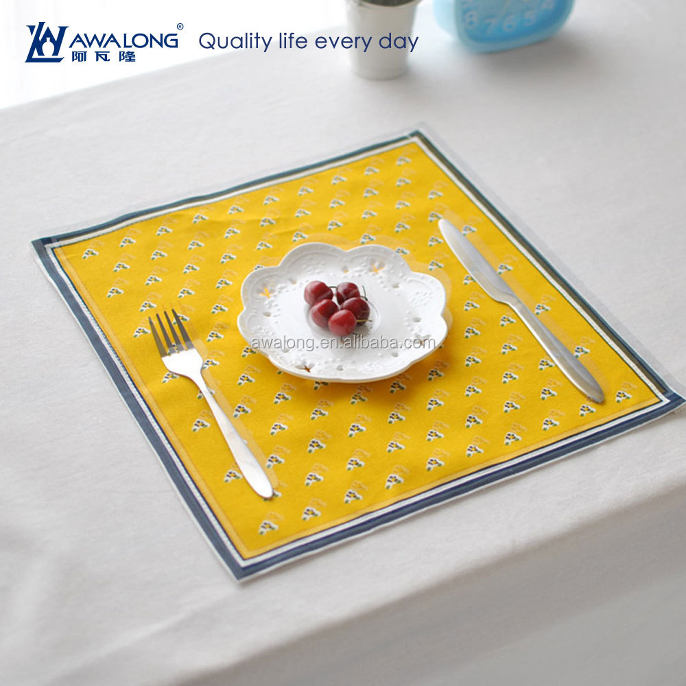 square elegance cotton and linen table mat