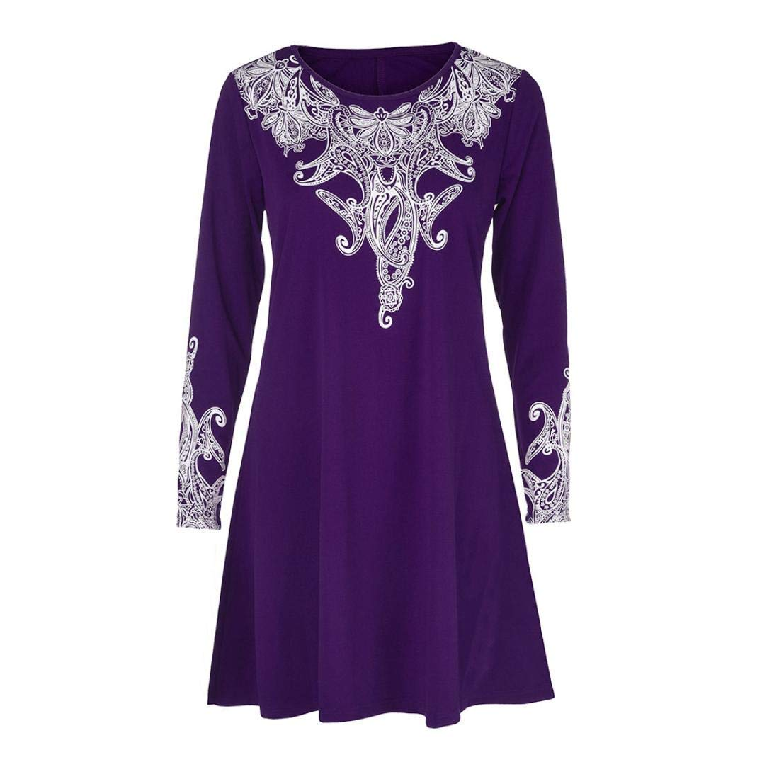 Feitengtd Womens Shirts V Neck Casual Loose T-Shirt Dress Floral Print Long Sleeve Tops Blouses Tops