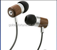 high quality wooden earbuds / headphone for MP3 /mobile handfree earphone