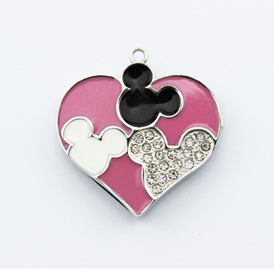 Wholesale china metal pendrive 1tb usb flash drive heart design jewelry mickey necklace usb pendrive