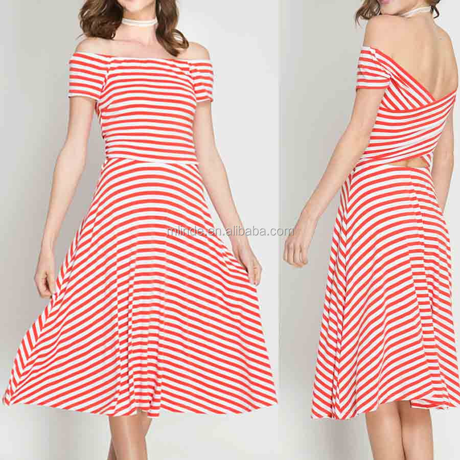 Fashion Trends 2017 Cheap summer dresses STRIPE SHORT SLEEVE OFF-SHOULDER CROSS BACK MIDI DRESS Design Of Women Frock