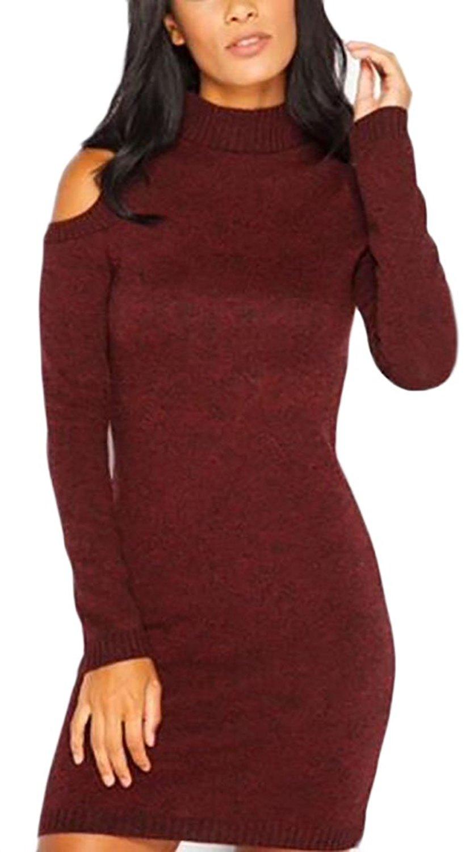 GenericWomen Generic Womens Autumn and Winter Mock Neck Cold Shoulder Knit Sweater Dress