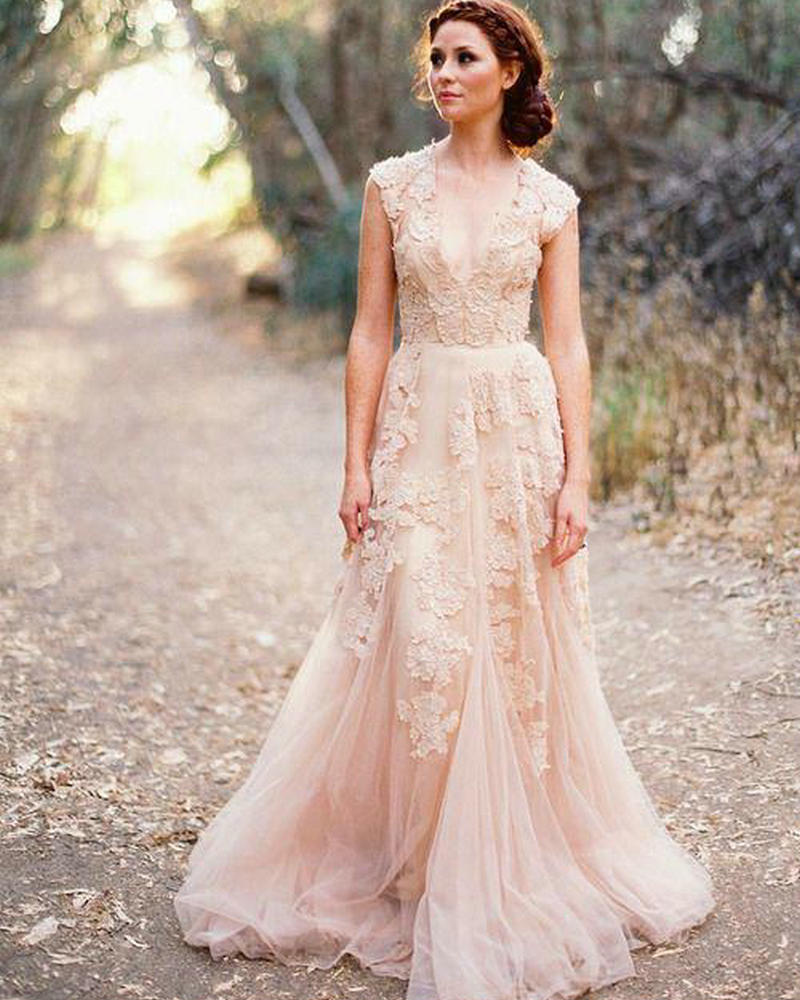 Garden Wedding Gowns: V Neck Lace Wedding Dresses 2016 A Line Bridal Gowns