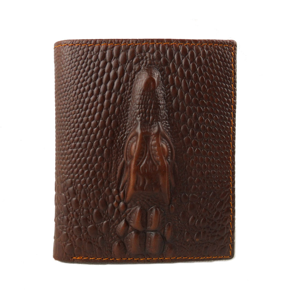 Crocodile pattern Mens genuine cow Leather Wallet Pockets Bifold Purse