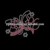 pink ribbon hotfix rhinestone transfers for fabric