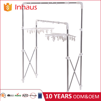 Stainless Steel Clothes Line Drying Rack Garment Hanger Foldable