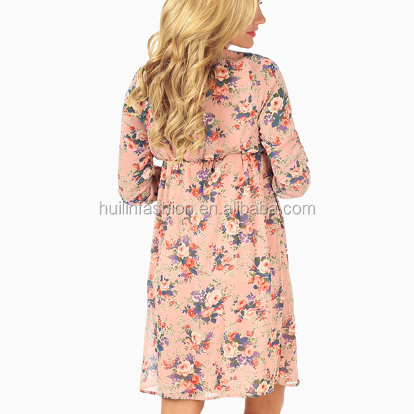 018752491a096 light pink rose floral print 3/4 sleeve chiffon woven korean style  maternity dress