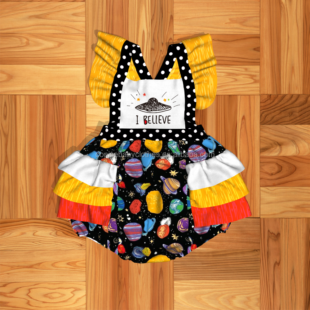 2019 conice summer new feather pattern girl dress headband children dress baby clothing boutique outfit dress