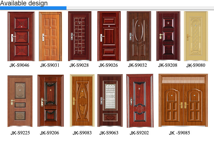 Jiekai hot sale main gate design home used exterior for Steel front doors for sale