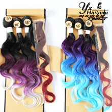 "YXCHERISHAIR Black Blue Light Blue Synthetic Weave 14""16""18""With a Closure 3 Bundles Body Wave Ombre Hair Weft Extension"