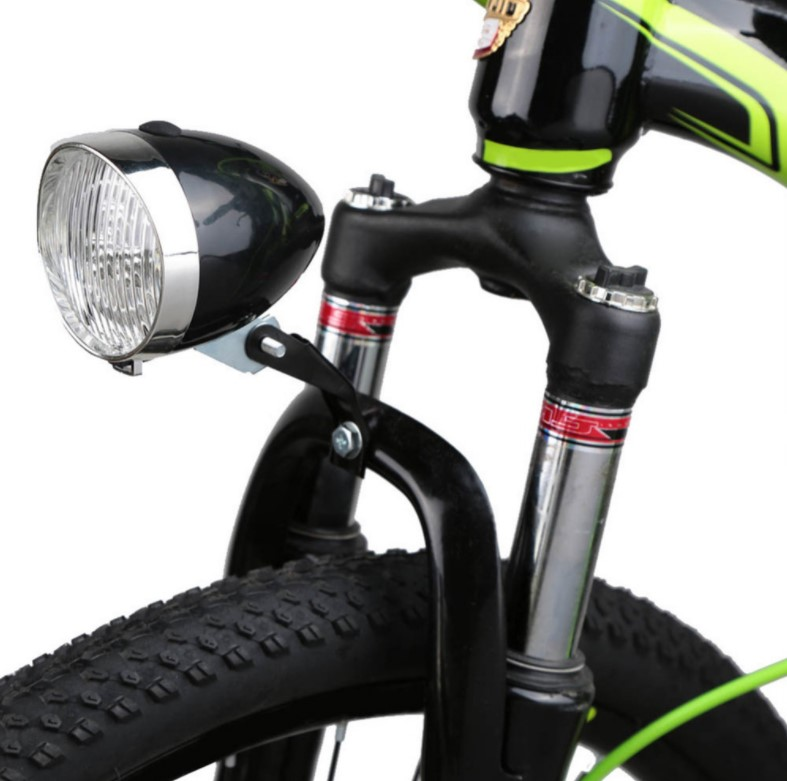 Retro style front fork lights moped, pedal assist bike kit accessories parts 3AAA batteries