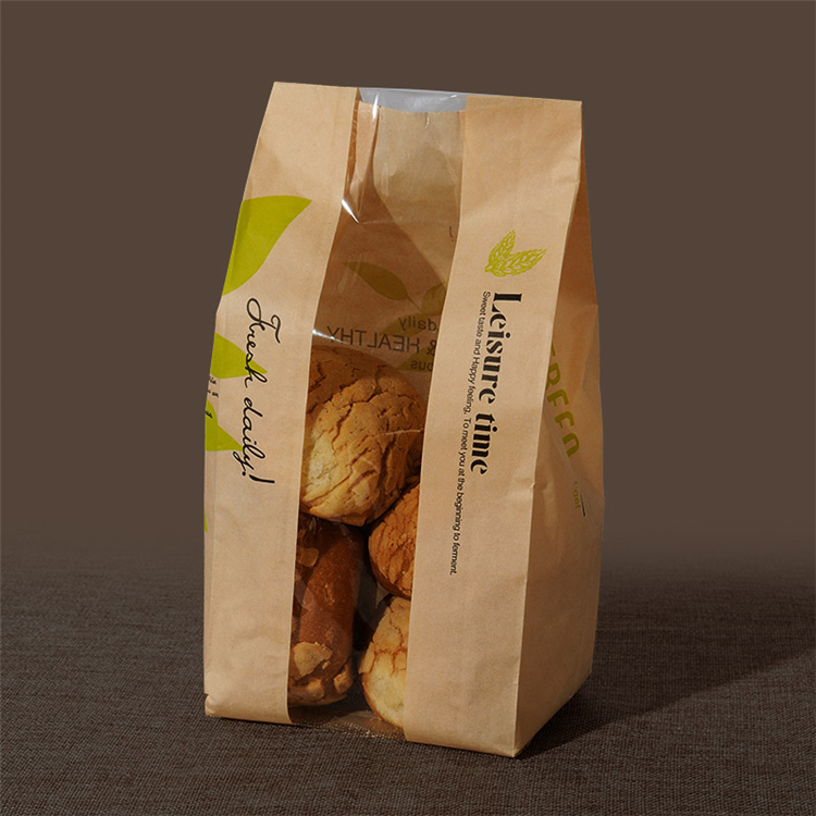 food packaging kraft bread packing paper bag with clear window